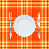 Dinner plate, knife and fork Royalty Free Stock Photography