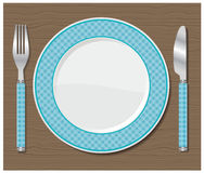 Dinner plate, knife and fork. Vector illustration Royalty Free Stock Photography