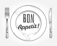 Dinner plate with knife and fork. Doodle sketch tableware and dish. Restaurant vector poster. Dinner plate with fork and knife illustration vector illustration