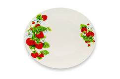 Dinner plate. Dinner plate with a pattern, closeup isolated on white background Royalty Free Stock Photography