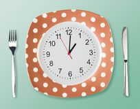 Dinner plate retro style with clock face fork an Stock Photography