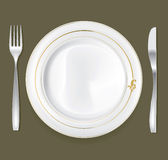 Dinner Plate Set 2. Empty dinner plate, drawing the knife and fork set Stock Photography