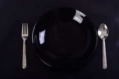 Dinner Plate,spoon and Fork Royalty Free Stock Photo