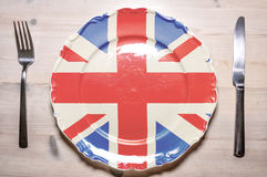 Dinner plate United Kingdom. A flag concept of a dinner plate with the flag of Britain on it Stock Images