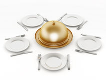 Dinner plates, forks and knifes Royalty Free Stock Image