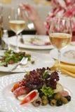 Dinner in restaurant. Dinner and wine in restaurant stock photos