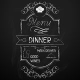 Dinner on the restaurant menu chalkboard Royalty Free Stock Photography