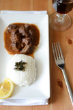 Dinner with rice and beef stew Royalty Free Stock Photography