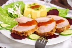 Dinner with roasted pork and potato Stock Photos