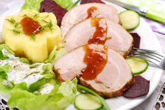Dinner with roasted pork and potato Royalty Free Stock Photo
