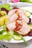 Dinner with roasted pork and potato Royalty Free Stock Photos