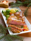 Dinner. Roasted pork with vegetable, selective focus Stock Images