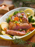Dinner. Roasted pork with vegetable, selective focus Royalty Free Stock Photos