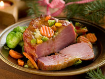 Dinner. Roasted pork with vegetable, selective focus Royalty Free Stock Photo