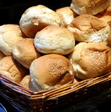 Dinner rolls. In a basket in restaurant buffet stock image