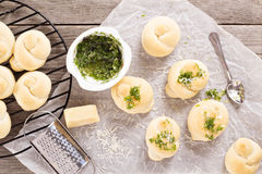 Dinner rolls with parmesan and garlic Stock Photography