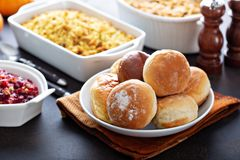 Dinner rolls for Thanksgiving. With all the sides stock photos