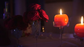 Dinner romance blurred background. In a crowded restaurant stock video footage