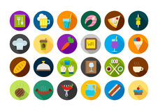 Dinner round  icons set Royalty Free Stock Photos