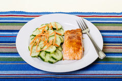 Dinner of Salmon and Cucumbers on Colorful Placemat. A dinner of baked salmon with sliced cucumbers and shredded carrots Stock Image