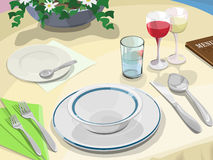 Dinner scene. Restaurant dinner table, in Royalty Free Stock Image