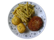 Dinner Schnitzel, Potatoes, Green Beans Isolated Stock Images