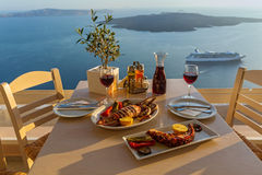 Dinner with seafood and red wine Royalty Free Stock Image