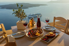 Dinner with seafood and red wine Royalty Free Stock Images
