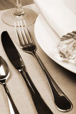 Dinner service. Formal dinner service as at a wedding, banquet Royalty Free Stock Photos