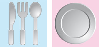 Dinner set. Set of dinnerware in the squares Stock Images