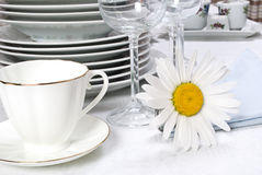 Dinner set and camomile. Close-up Stock Image