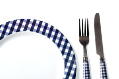 Dinner set (plate, fork, knife) Stock Photos