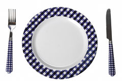 Dinner set (plate, fork, knife) Royalty Free Stock Photos