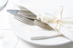 Dinner set in restaurant Stock Photo