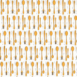 Dinner set seamless pattern. Spoons and forks background. Modern background for menu design. Restaurant, cafe seamless texture bac Royalty Free Stock Image