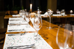 Dinner set-up table Stock Photography
