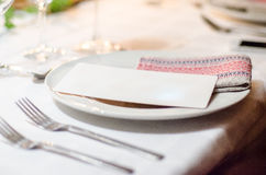 Dinner set-up table Royalty Free Stock Photography