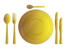 Dinner Sets. Set of Golden dinner plates and spoons illustration Royalty Free Stock Photo