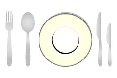 Dinner Sets. Set of dinner plates and spoons illustration Royalty Free Stock Photography