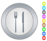 Dinner setting. Illustration of dinner setting in different colors. Plates,knifes and forks royalty free illustration