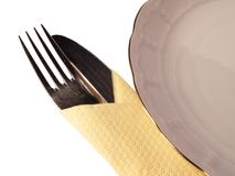 Dinner setting. Plate with fork and knife Stock Photo