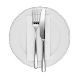 Dinner setting isolated. Dinner setting with fork and knife, white dinner napkin, and white china plate stock image