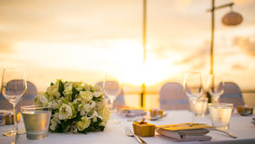 Dinner Setup In Sunset Time Royalty Free Stock Image
