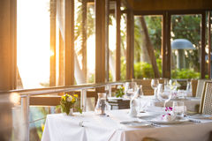 Dinner setup in sunset time Stock Photography