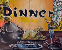 Dinner Sign 1 Royalty Free Stock Photography
