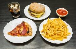 dinner Stół z fastem food obrazy royalty free
