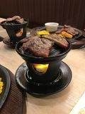 Dinner steak grill Japanese style. Meat steak  grill Japanese food Royalty Free Stock Photography
