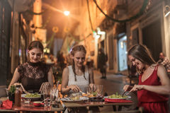 Dinner on the street Royalty Free Stock Photo