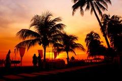 Dinner on sunset. At beach Stock Image