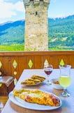 The dinner in Svaneti Stock Photo